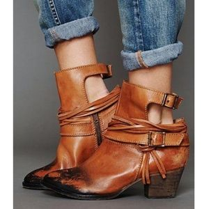 Free People Distressed Ankle Boots